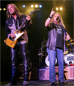 Lynyrd Skynyrd's Johnny Van Zant, right, and Rickey Medlocke, left, kick off a tour with the band and Kid Rock on Thursday.