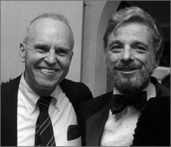 George Furth, left, and Stephen Sondheim in 1981.