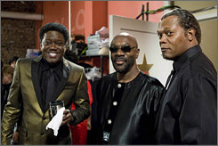 "Bernie Mac, left, Isaac Hayes and Samuel L. Jackson worked together on Soul Men, which hits theaters Nov. 14. Mac and Hayes died over the weekend, but the movie has been completed. The loss of both stars ""was surreal,"" director Malcom Lee says."