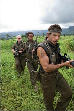 Jack Black, Robert Downey Jr. and Ben Stiller star in Tropic Thunder.