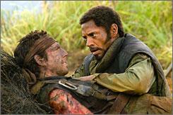Ben Stiller and Robert Downey Jr. are movie actors in a war film.