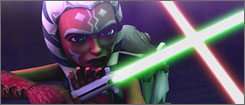 Ahsoka Tano engages in battle in Star Wars: The Clone Wars.