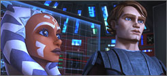 Student becomes teacher: Anakin Skywalker, right, takes on apprentice Ahsoka Tano, Star Wars' first major female Jedi, in a new animated installment.