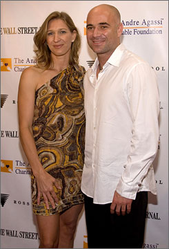 "First time in celeb playground: Steffi Graf and Andre Agassi attend ""A Night In the Hamptons,"" a benefit for Agassi's Charitable Foundation."