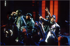 In 2000: Some said Snoop Dogg, left, Dr. Dre, MC Ren and Ice Cube were glorifying violence, but the outcry didn?t stop N.W.A and gangsta rap.