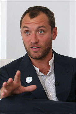British actor Jude Law came to Afghanistan on Monday as a spokesman for the United Nations' Peace Day, which takes place on Sept. 21 and seeks an end to warfare.