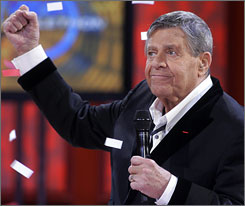 Jerry Lewis telethon viewers were in a giving mood Monday, donating a record $65 million to help the Muscular Dystrophy Association and Hurricane Gustav survivors.