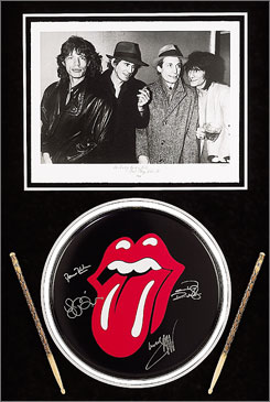 "London's Victoria and Albert Museum has picked up the original Rolling Stones ""lips"" logo for $92,500. The nearly-40-year-old design financed the education of the artist's child."