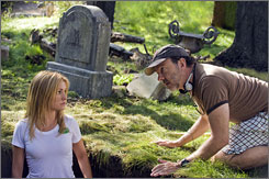 Grave doings: Star Anna Paquin and director Alan Ball (Six Feet Under).