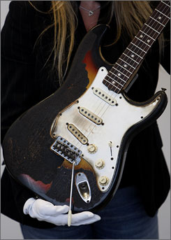 Jimi Hendrix set this guitar, a Fender Stratocaster, on fire during a 1967 performance in London.