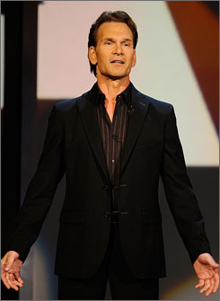 Patrick Swayze, who was diagnosed with pancreatic cancer earlier this year, opened the Stand Up To Cancer telethon.
