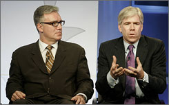 MSNBC has decided that David Gregory, right, will anchor its nightly political coverage, while Keith Olbermann, left, and Chris Matthews will return to their commentator roles.