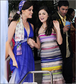 Gossip Girl hits Palm Beach: Ashley Newbrough, left, and Lucy Hale play spoiled rich sisters on CW's Privileged.