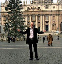 Bill Maher stands in front of Vatican City in his film Religulous.
