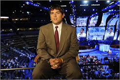 Luke Russert, seen here at the Democratic National Convention last month, has had his stories appear on NBC's Nightly News and Today.
