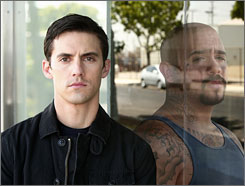 Keep enemies  close:  Hero  Peter (Milo  Ventimiglia,  left) and villain  Jesse  (Francis Capra),  whose  power lies in  his voice.