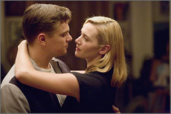 Reunited: Titanic co-stars Leonardo DiCaprio and Kaye Winslet are married in Revolutionary Road.