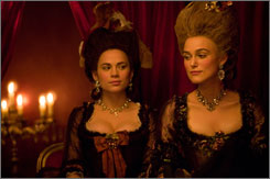 Royal seconds: Georgiana, the Duchess of Devonshire (Keira Knightley, right), and her friend Bess (Hayley Atwell), who later becomes the duke's lover.