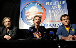 Mickey Hart, left, Phil Lesh and Bob Weir said that they will perform at an Obama fundraiser.