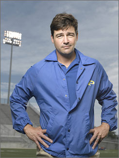 Man in charge: Coach Eric Taylor (Kyle Chandler) keeps the Lights team in line.
