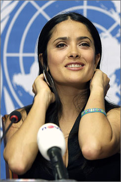 """Salma Hayek, is the spokeswoman for the global Pampers/UNICEF campaign """"One Pack = One Vaccine."""""""
