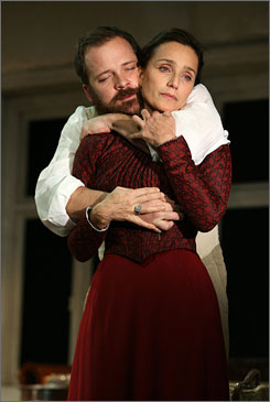 Lovers: Kristin Scott Thomas and Peter Sarsgaard star in Anton Chekhov's The Seagull, now playing on Broadway.