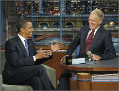 Talk time: Barack Obama, left, hit The Late Show With David Letterman to chat with the host last month.