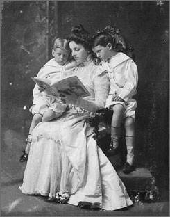 Mother of manners: Emily Post reads to her sons around 1898. She later had a scandalous divorce.
