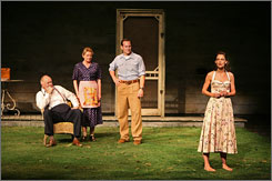 All My Sons: Ann (Katie Holmes, right) breathes new life into Keller family (John Lithgow, left, Dianne Wiest, Patrick Wilson).