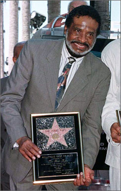 In 1997: Levi Stubbs during the  unveiling of the band?s star on  the Hollywood Walk of Fame.