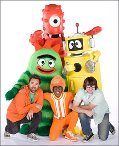 Time to sing and dance: DJ Lance Rock, front and center, brings to life four monsters, including two-toothed Muno and fuzzy striped Brobee, and a robot named Plex. Christian Jacobs, left, and Scott Schultz are the humans behind Gabba.
