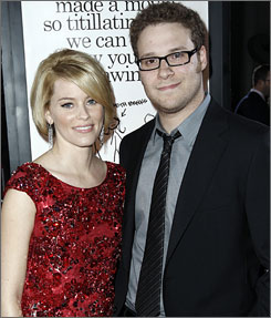 "Seth Rogen, seen here with his Zack and Miri Make a Porno co-star Elizabeth Banks, used the pet's name + street you grew up on = porn star name to come up with Aloiscious St. James. ""That's a pretty rad name,"" he says."