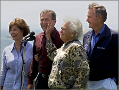 Two first ladies and two presidents: Laura and George W. Bush, left, in 1999, would soon occupy the White House, as did Barbara and George H.W. Bush. Barbara and Laura Bush are among the 53 women who have been first lady.
