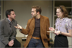 Revival: Jeremy Piven, center, plays Hollywood producer Bobby in Speed-the-Plow. Ral Esparza and Elisabeth Moss co-star in the play, which opens Thursday.