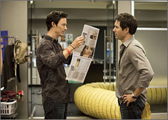 Ad men: Tom Cavanagh, left, plays a single guy and  Eric McCormack plays a family man on TNT show Trust Me.