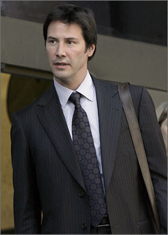 Keanu Reeves leaves a Los Angeles courthouse Monday.
