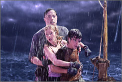 Drenched in action: Brendan Fraser, rear, Anita Briem and Josh Hutcherson go on a Journey to the Center of the Earth.