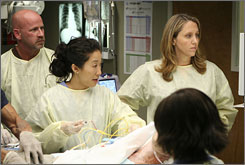 Discharged: Brooke Smith, right, who plays cardiac surgeon Dr. Erica Hahn on Grey's Anatomy, has gotten the boot.