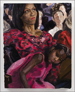 The painting is called Michelle and Sasha Obama Listening to Barack Obama at the Democratic National Convention.