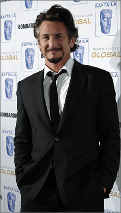 His Excellency: Milk star Sean Penn received the Stanley Kubrick Britannia Award for Excellence in Film.