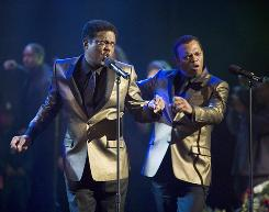 Bernie Mac, left, and Samuel L. Jackson get their groove back as Motown singers who reunite in Soul Men.