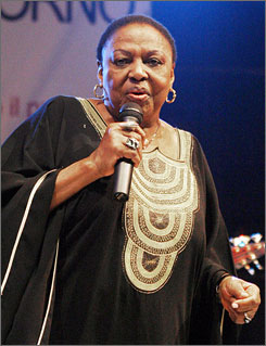 Miriam Makeba performs during her last concert in Castel Volturno, southern Italy, late Sunday night.