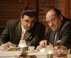 A sit-down: Steven Van Zandt, left, and James Gandolfini of The Sopranos.