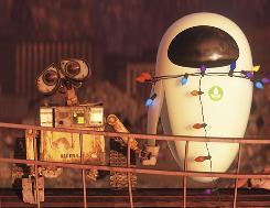 A robot love story: When WALL-E, left, met EVE.