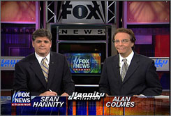Sean Hannity and Alan Colmes of Fox News' Hannity & Colmes.