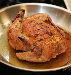The roasted chicken Kelley McDade learned to make during her cooking lesson with Martha Stewart.