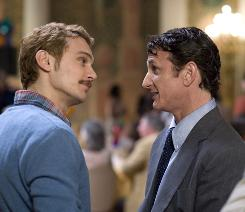 James Franco, left, plays a lover of Sean Penn's Harvey Milk, the San Francisco city supervisor who was assassinated in 1978.