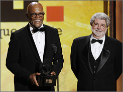 """He isn't afraid to go and work. He does a lot of things and gets a chance to do very different roles and he enjoys it,"" Star Wars director George Lucas said of  American Cinematheque honoree Samuel L. Jackson."