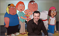 "Family Guy creator/voice actor Seth MacFarlane's ""frat-boy persona is only a cover,"" deduces Entertainment Weekly."