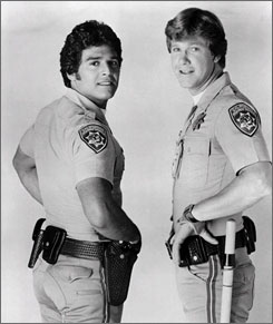 Erik Estrada with co-star Larry Wilcox in this  1977 photo from ChiPs.